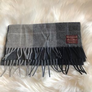 100% Merino Wool Grey & Blue Paid Scarf- Nordstom
